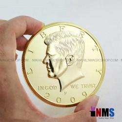 Jumbo 3 inch Half Dollar Coin Golden